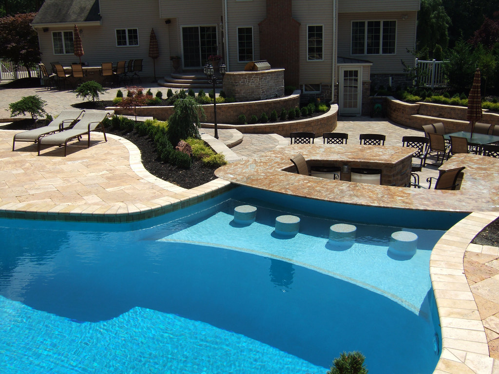 Nj pool designs and landscaping for backyard custom for Poolside kitchen designs
