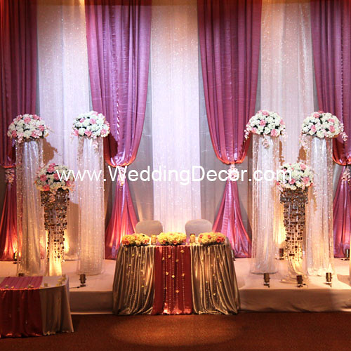 Wedding backdrop dusty rose silver white a dusty for Background decoration for wedding