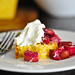 cornmeal cake with rhubarb compote