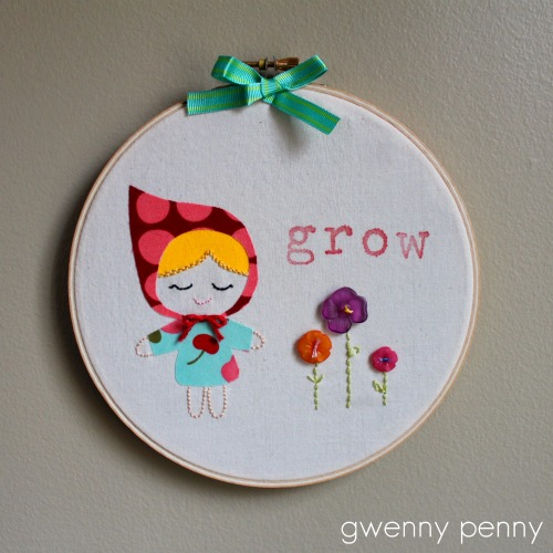 Spring embroidery hoop art mixed media