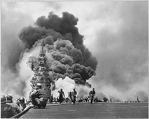 USS BUNKER HILL hit by two Kamikazes in 30 seconds on 11 May 1945 off Kyushu. Dead-372. Wounded-264., 1943 - 1958 | by The U.S. National Archives