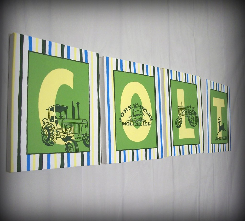 John Deere Name Wall Art Art For Children Letter Painting Flickr
