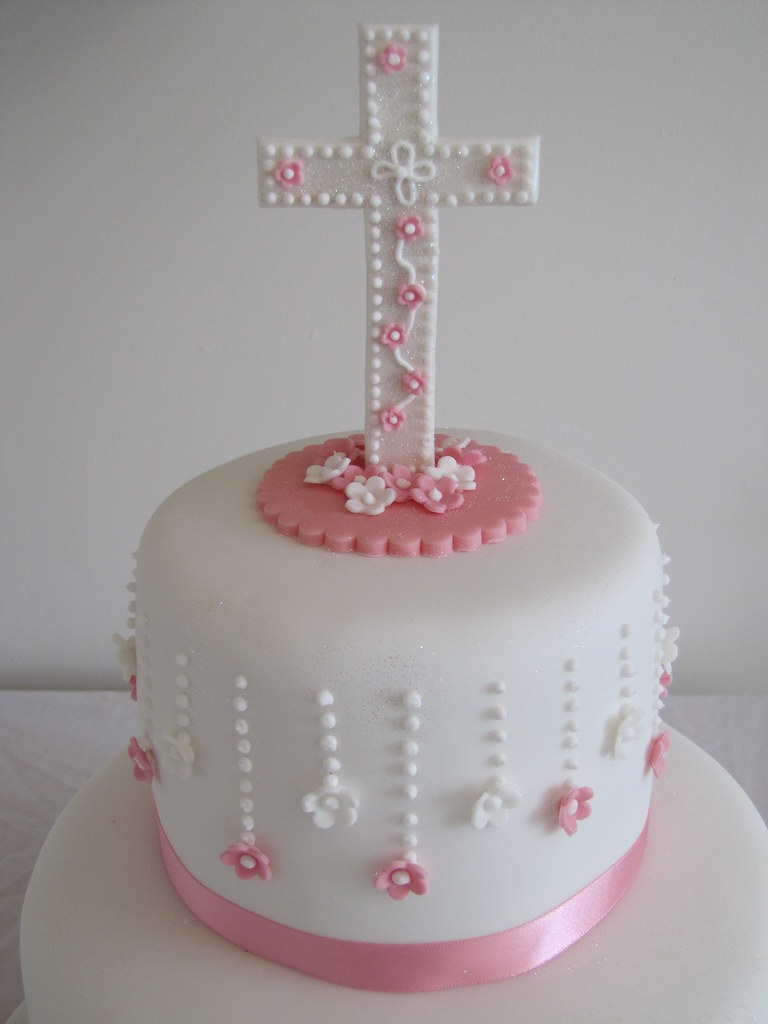 First holy communion cake cross topper handmade cross topp flickr - Holy communion cake decorations ...