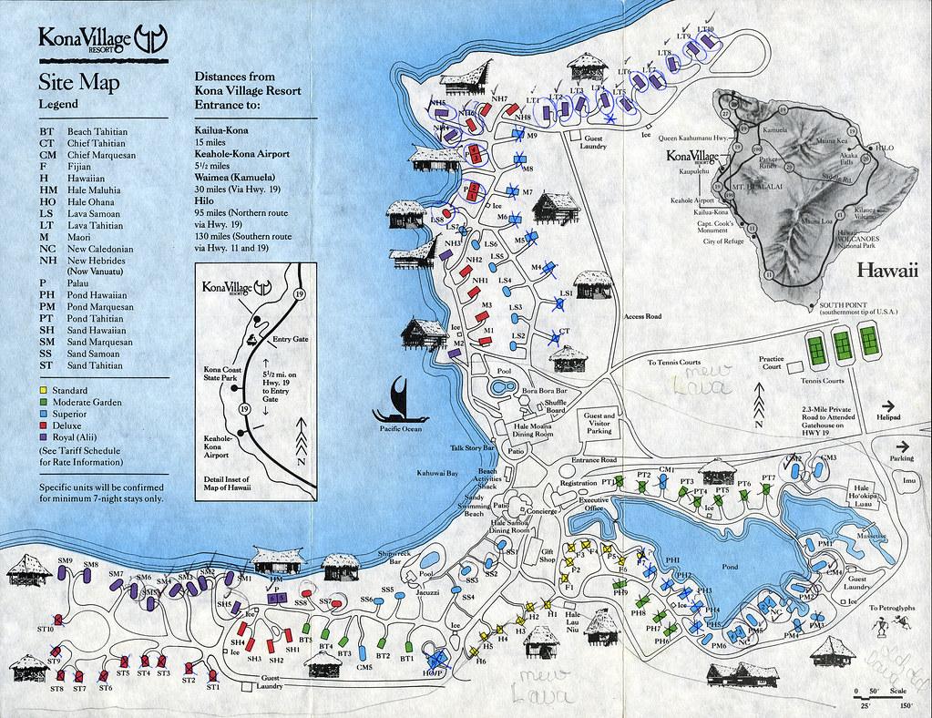 Ephemera Kona Village Site Map 1994 This Was A