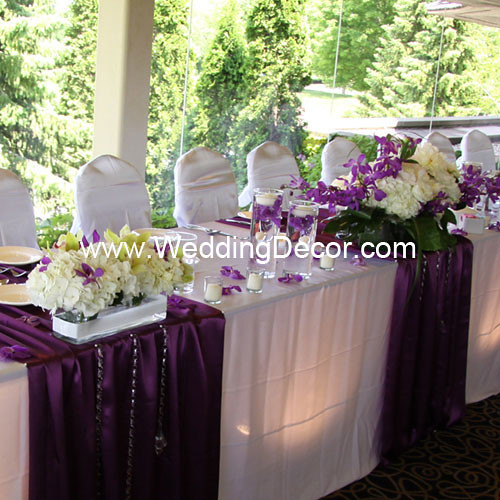 Wedding Head Table Flowers: Head Table Decorations - Purple & White