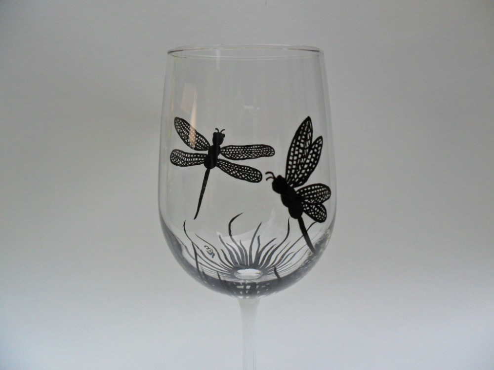 Dragonfly wine glass modern hand painted modern hand for Baking enamel paint on glass