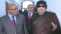 South African President Jacob Zuma with Libyan leader of the revolution Muammar Gaddafi during a state visit to Tripoli. Libya has once again accepted the African Union peace plan for the country. | by Pan-African News Wire File Photos