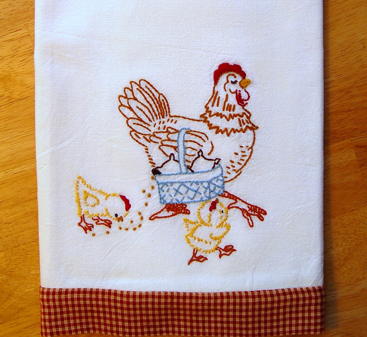 Mother hen hand embroidered floursack tea towel with vin - Free embroidery designs for kitchen towels ...