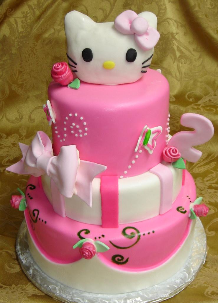 three tier pink and white fondant custom designed hello ki u2026 flickr on birthday cake ki photos