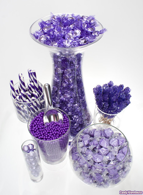 Purple Candy Buffet Delicious Treats In An Assortment Of