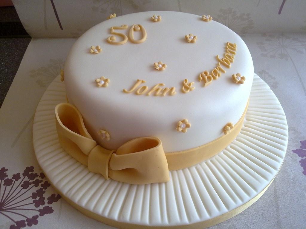 Golden Wedding Anniversary Cake Designs
