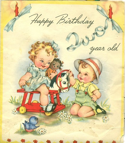 Images Of Vintage Girls First Birthday Card: Happy Birthday Two Year Old:My Grandson Logan Is Two Years