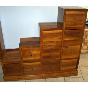 Mobile scala in teak massello cm 123x30x110h etnico dx - Mobile scala etnico ...