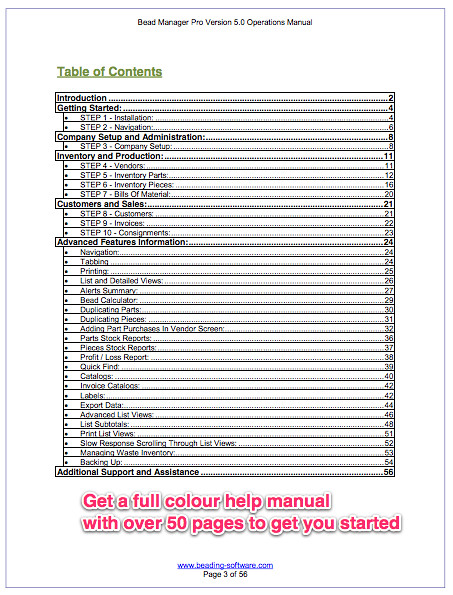 bead manager pro jewelry software help manual bead