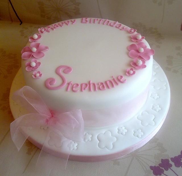 Simple White & Pink Birthday Cake | Flickr - Photo Sharing!