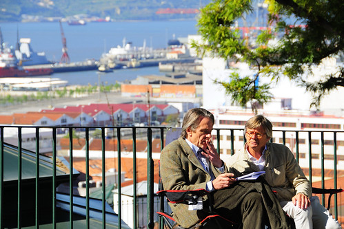 Actor Jeremy Irons and Director Bille August during the shooting of the film Night Train to Lisbon in Santa Catarina. Lisbon, Portugal. | by Visit Portugal