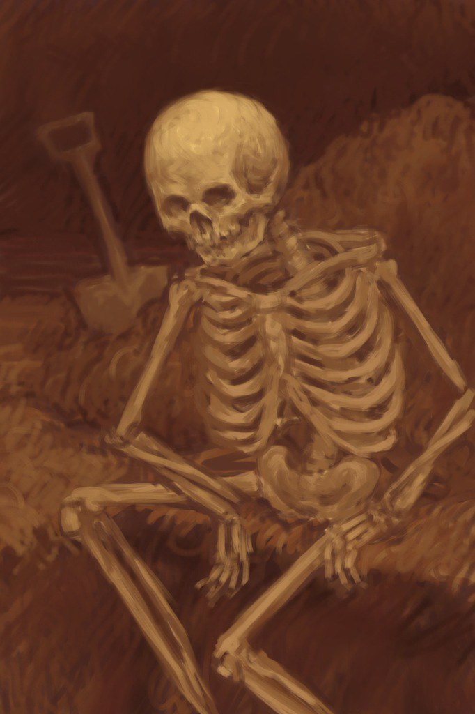 skeleton sitting in a grave done on my iphone with
