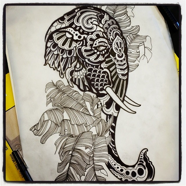 #asian #elephant #painted #inkdrawing For A #tattoo On Fri