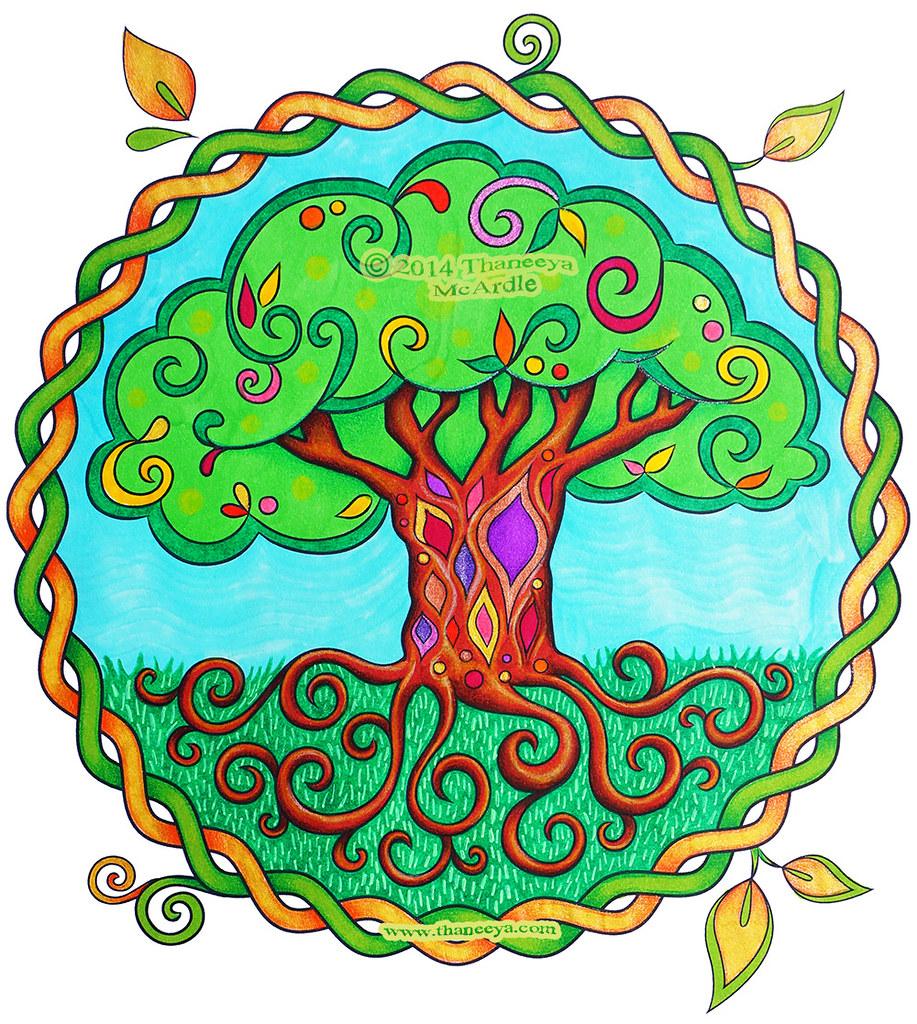 Tree Mandala Coloring Page By Thaneeya Mcardle Title