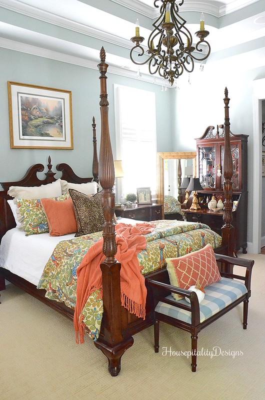 Master Bedroom - Fall - Pottery Barn Maya Bird Bedding - Housepitality Designs