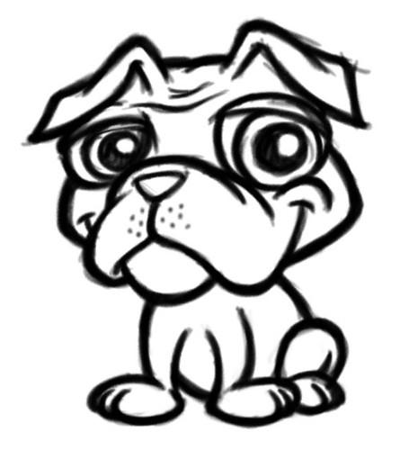 pug puppy cartoon mascot sketch
