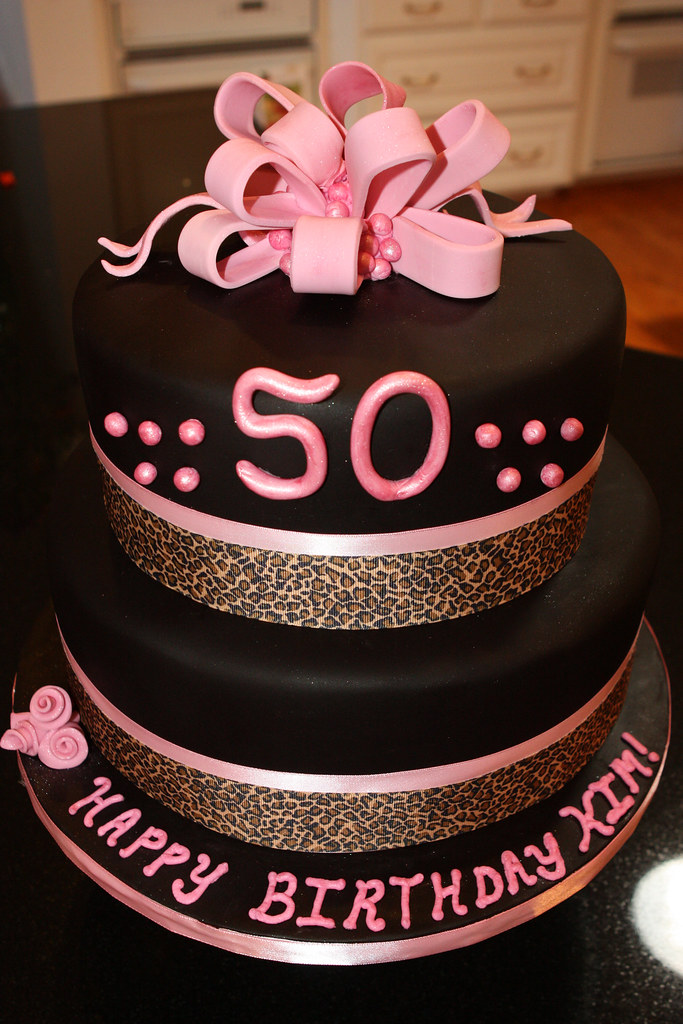 50th Pink Black And Leopard Birthday Cake Made This
