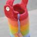 felted water bottle carrier :: rainbow, short strap