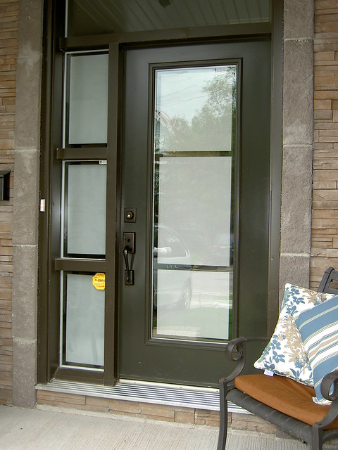 Front Door And Sidelight With Privacy Frosted Film On Glas