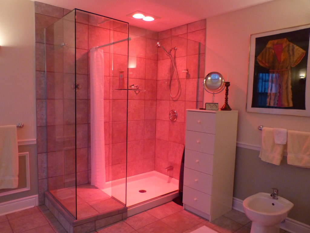 Shower infrared heat lamps fan and bidet hank leclair for How to heat a bathroom