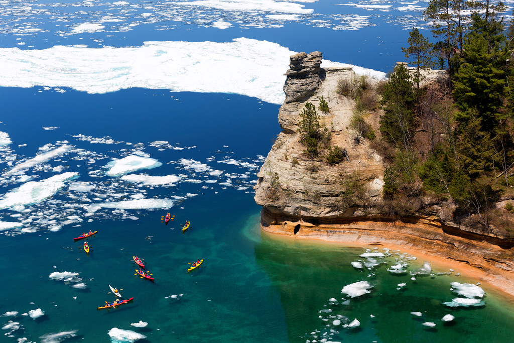 Kayaks Amp Ice Floes At Miners Castle Pictured Rocks Natio