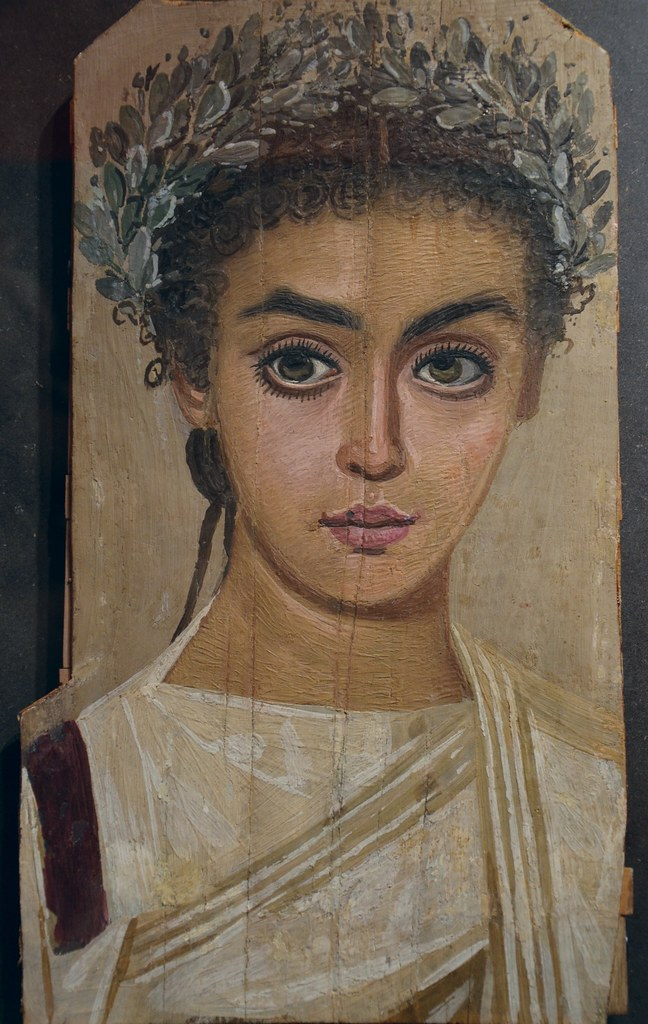 Mummy portrait of a girl ad 120 150 roman egypt wax enc for Egyptian fresco mural painting
