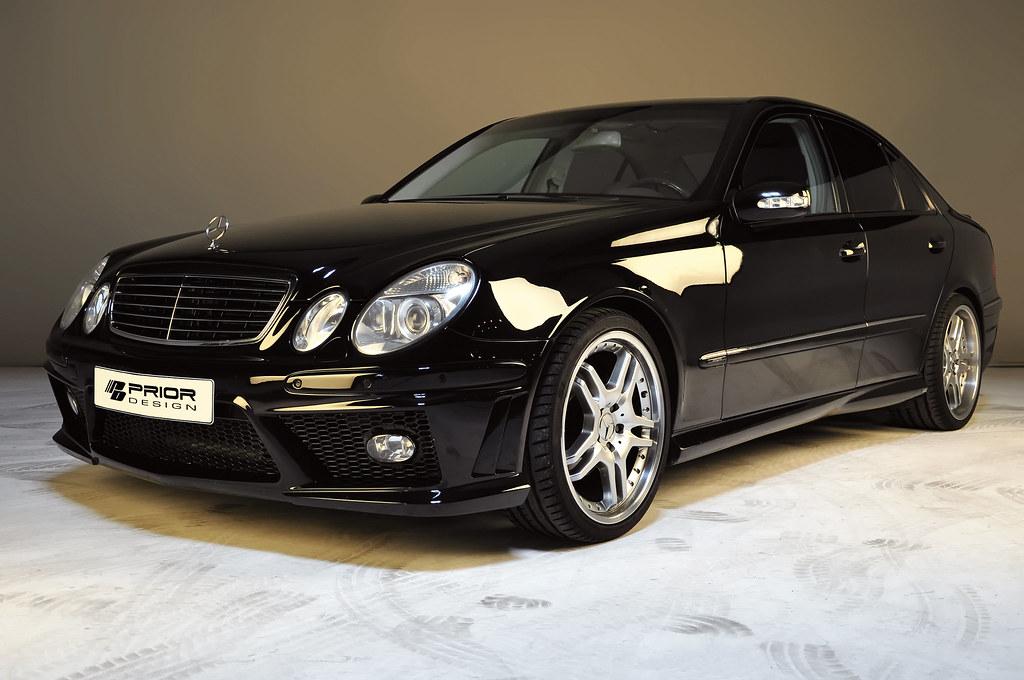 black mercedes benz e class w211 full body kit front bump. Black Bedroom Furniture Sets. Home Design Ideas