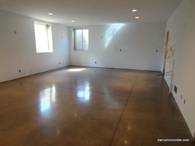 Polished concrete floor residential basement fort wayne for Residential concrete floors