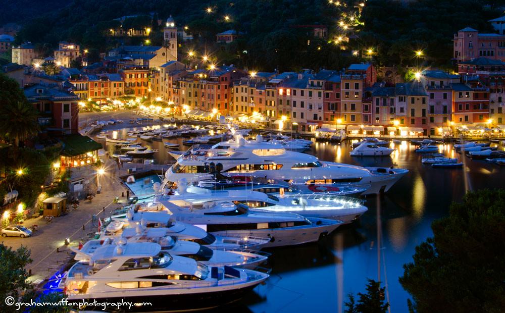 portofino by night portofino on the italian riviera is