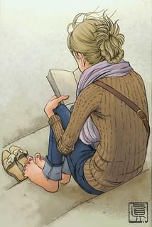 girl reading a book on the river Rhine by Igor Shin Moromisato