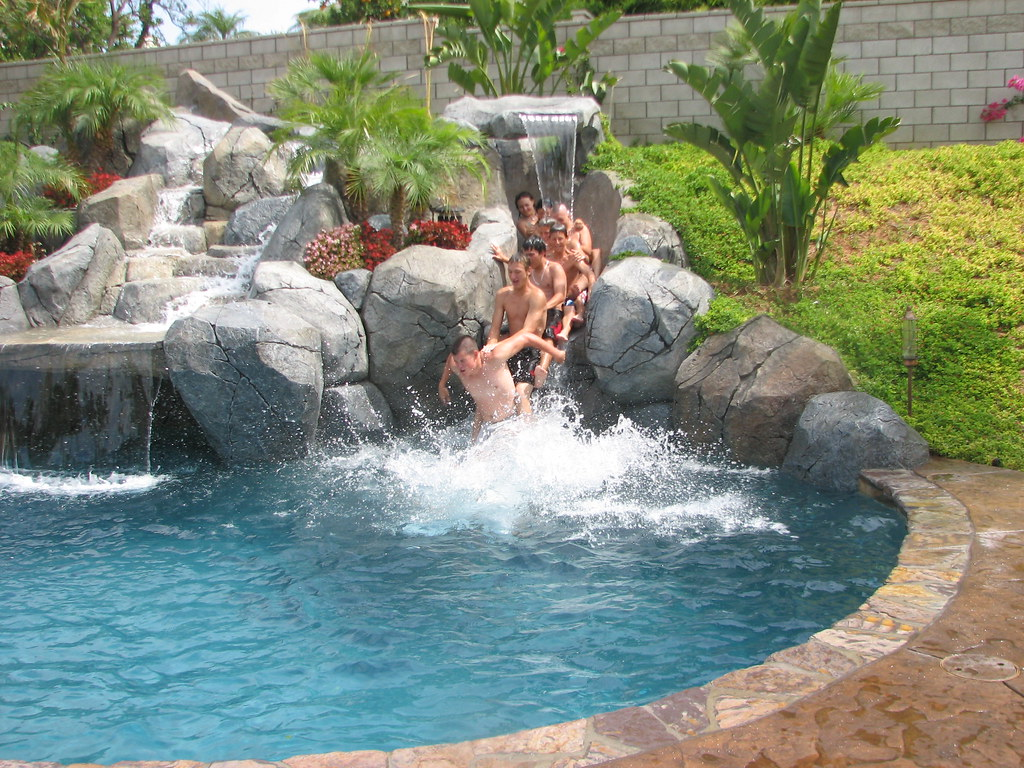 how to build a swimming pool slide