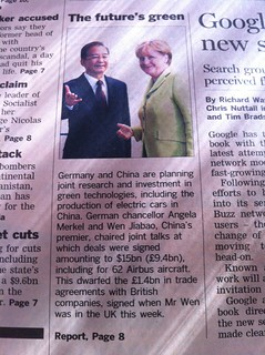 Big and green China/Germany deal. More evidence of UK in slow lane for growth. | by Stef W