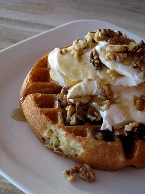 Waffle with Yogurt & Honey | Flickr - Photo Sharing!