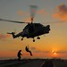 Lynx Helicopter Practicing Winching Drills Over HMS Argyll's Flight Deck