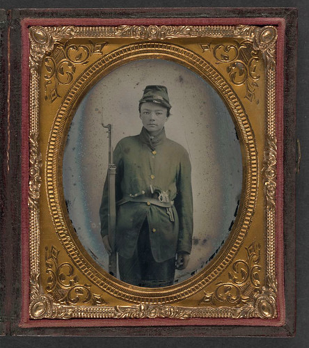 [Unidentified young soldier in Union uniform with bayoneted musket, knife, and revolver] (LOC) | by The Library of Congress