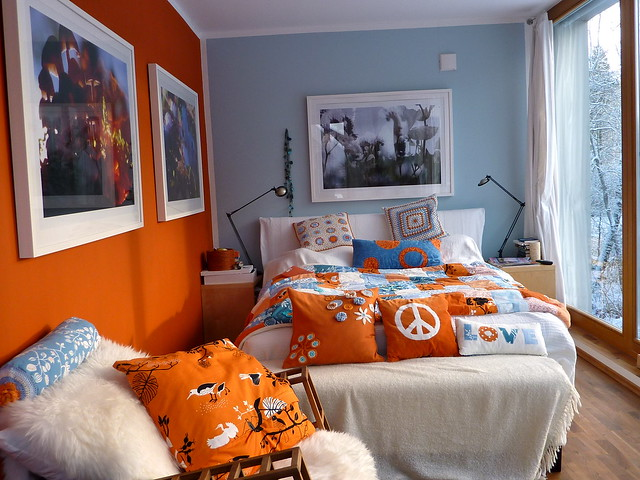 bedroom in orange white blue and snow outside flickr