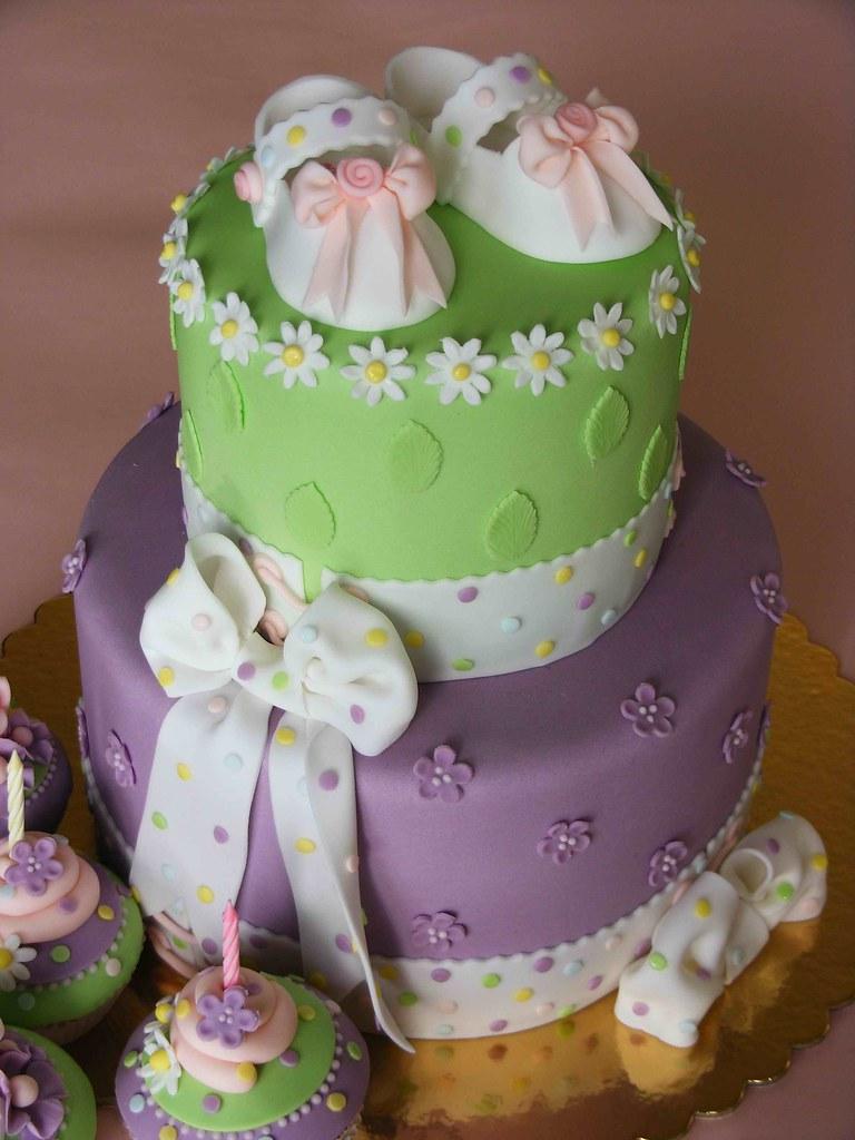 Baby Booties Cake Purple