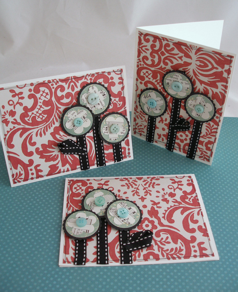 red and aqua flower cards  my favorite color combo made