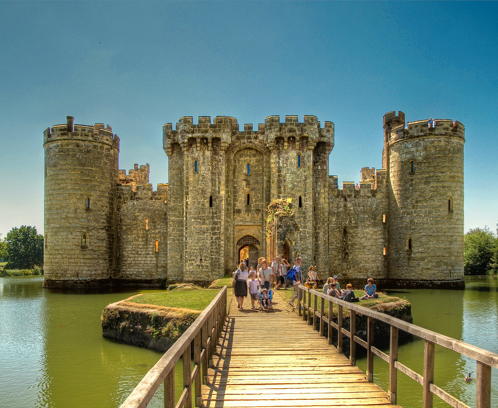 The 14th century Bodiam Castle in East Sussex, England ...