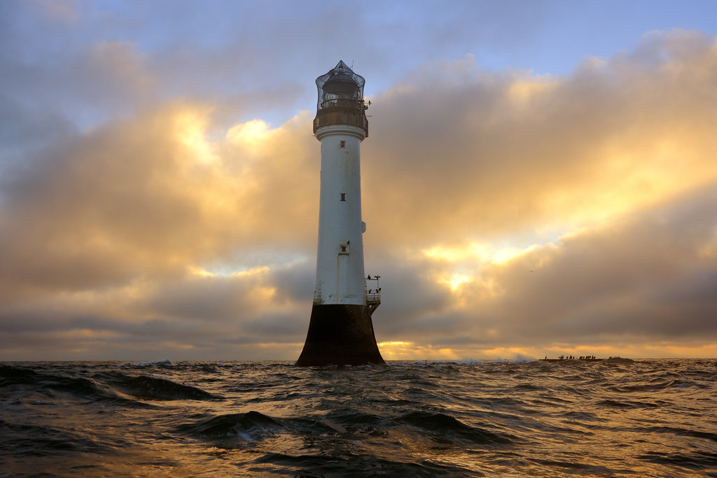 Winter sunrise at the Bell Rock lighthouse (12 miles off o ...