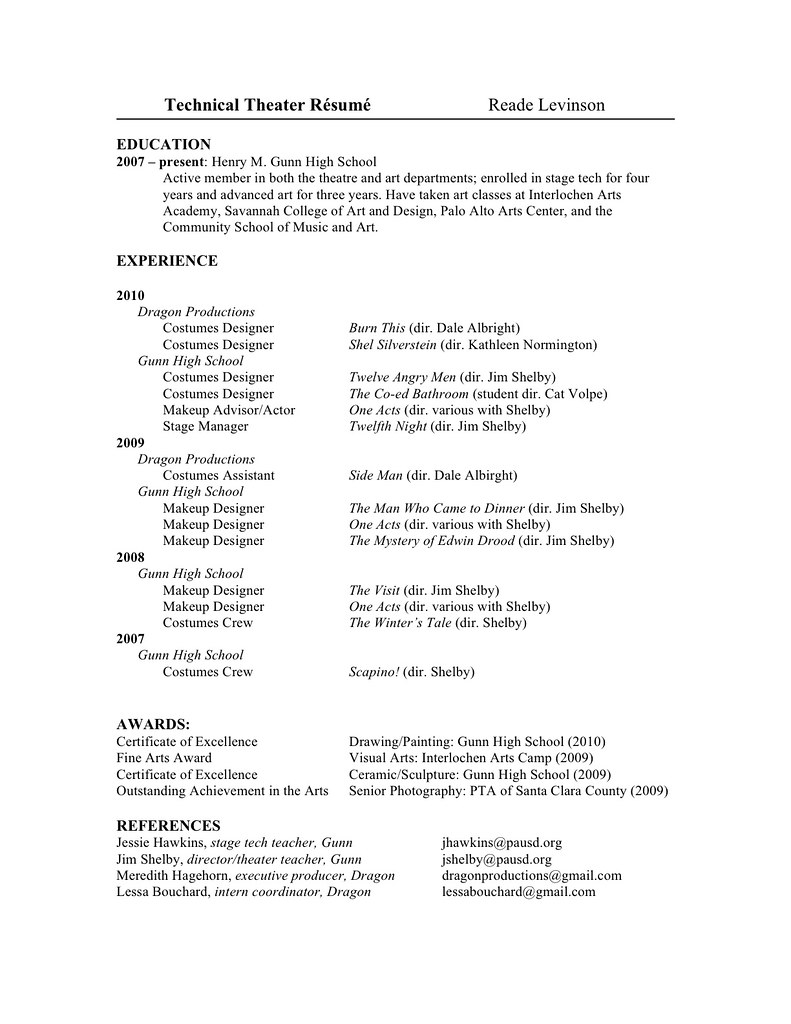 ... My Technical Theatre Resume | By Reade Levinson  Technical Theatre Resume