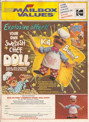 1988 Post Croonchy Stars Cereal Swedish Chef Doll Premium Newspaper Offer