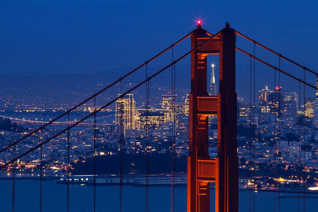 Trans-America Building Through The Golden Gate Bridge.