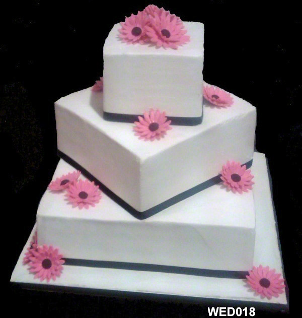 wedding cakes pictures square wed018 3 tier offset squares with ribbon and gerbera 25282