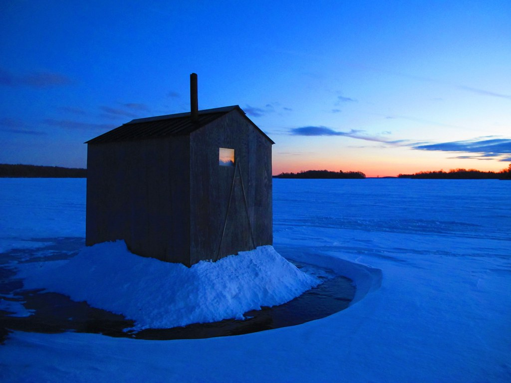 Ice Shanty | An ice fishing hut or shanty, on a frozen St ...